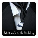 Black Tuxedo Men's 40th Birthday Party Invitation
