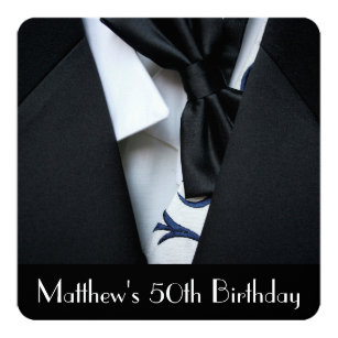 Black Tuxedo Mens 50th Birthday Party Invitation