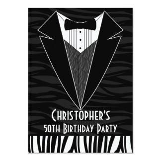 "Black Tuxedo Men's 50th Birthday Party Invitation 4.5"" X 6.25"" Invitation Card"