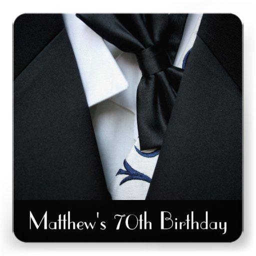 Black Tuxedo Men's 70th Birthday Party Invitation