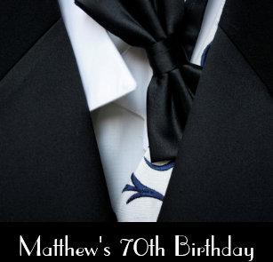 Black Tuxedo Mens 70th Birthday Party Invitation