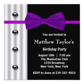 Black Tuxedo Purple Bow Tie Mens Birthday Party Card
