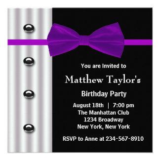Black Tuxedo Purple Bow Tie Mens Birthday Party Personalized Invite