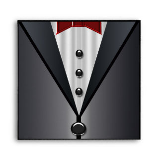 Black Tuxedo Red Bow Tie Elegant Envelopes