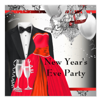 Black Tuxedo Red Dress Party Card