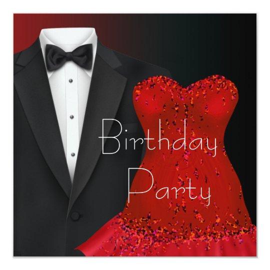 black tuxedo red dress party invitation template zazzle com