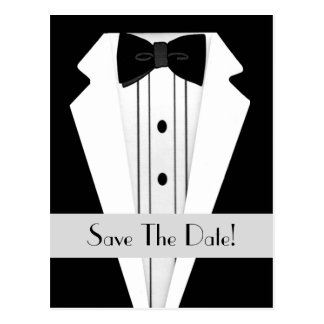 Black Tuxedo Save The Date Postcard