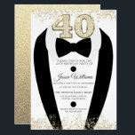 """Black Tuxedo Suit Gold Mens 40th Birthday Party Invitation<br><div class=""""desc"""">Black Tuxedo Suit Gold Mens 40th Birthday Party Invitation  Variations to the invitation and matching items in our store</div>"""