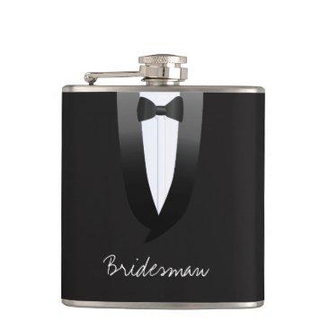 Bride Themed Black Tuxedo Wedding Bridesman Hip Flask