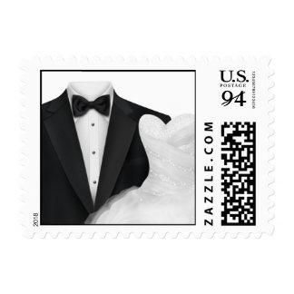 Black Tuxedo White Gown Postage