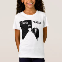 Black tuxedo white wedding dress t-shirt