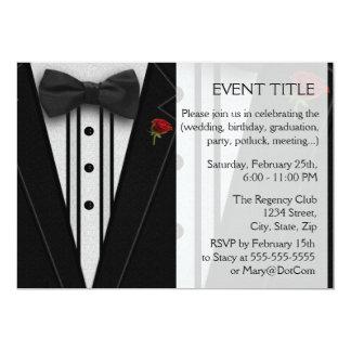Black Tuxedo with Bow Tie 5x7 Paper Invitation Card