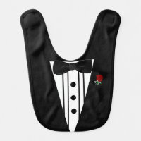 Black Tuxedo with Bow Tie- Baby Bib