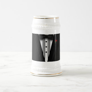 Black Tuxedo with Bow Tie Beer Stein