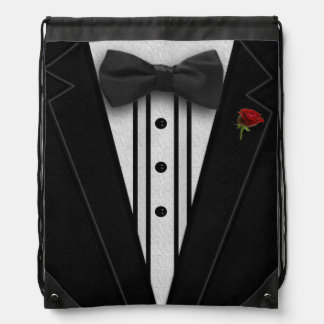 Black Tuxedo with Bow Tie Drawstring Bags