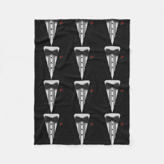 Black Tuxedo with Bow Tie Fleece Blanket