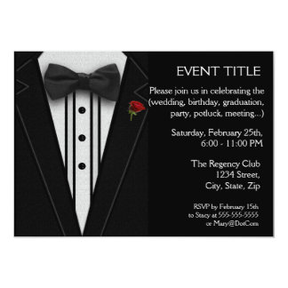 Black Tuxedo with Bow Tie Red Rose Card