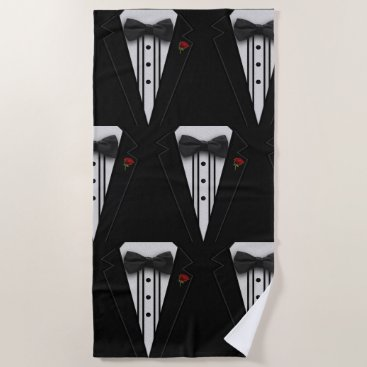 Beach Themed Black Tuxedo with Red Rose Pattern Beach Towel