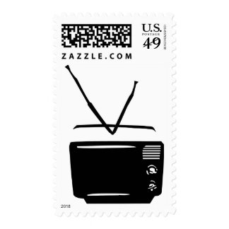 black tv television icon postage stamps