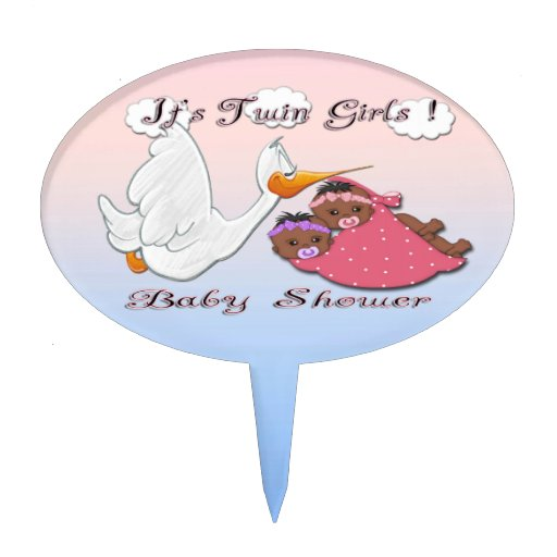 Twin Baby Shower Cake Toppers: Black Twin Girls Baby Shower Cake Topper