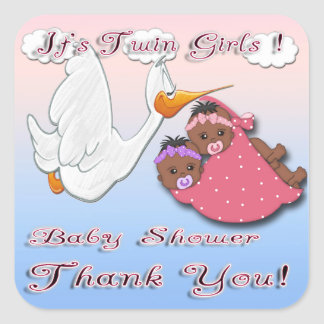 Black Twin Girls Thank You Envelope Seal