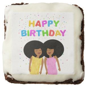 Black Twin Sisters Birthday Chocolate Brownies