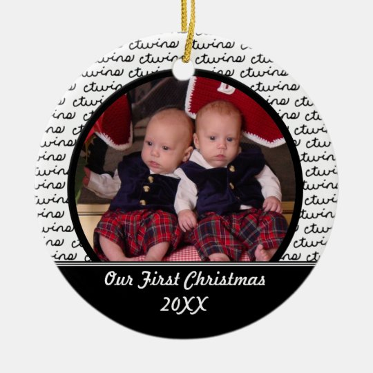 Black Twins First Christmas Ornament | Zazzle.com