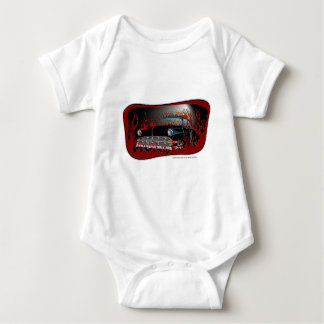 Black Two Tone 54 Chevy Hot Rod in Flames Baby Bodysuit