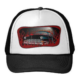 Black Two Tone 54 Chevy Hot Rod in Flames Hat