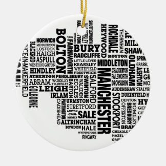 Black type map of Greater Manchester Ceramic Ornament