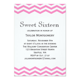 Black Type & Pink Chevron Sweet 16 Invitation