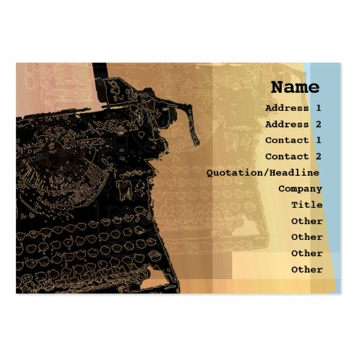 Black Typewriter Profile Card Business Card Template