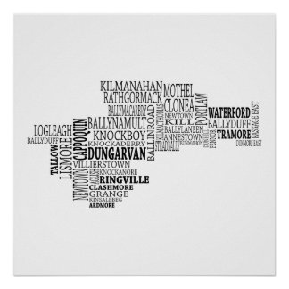 Black Typographical Map of Co. Waterford, Ireland Poster