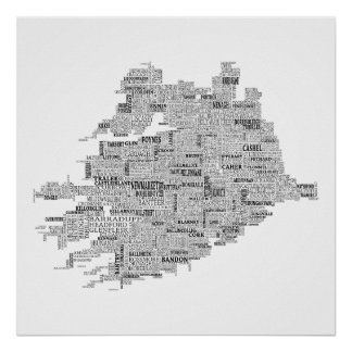Black Typographical Map of Munster, Ireland Poster