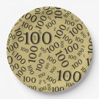 Black Typography Any 100th Event Party/Celebration Paper Plate