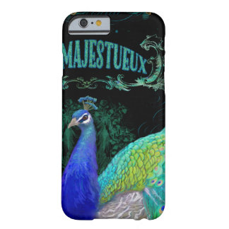Black Typography Peacock Art Vintage Style Scroll Barely There iPhone 6 Case