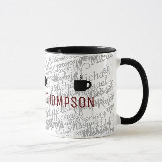 black typography ringer mug with custom name