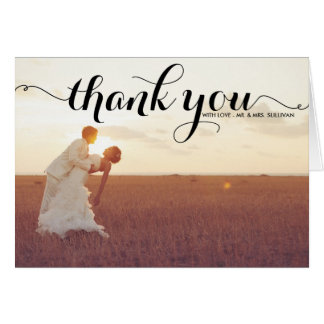 Black Typography Script Wedding Thank You Card