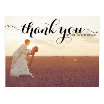 BLACK TYPOGRAPHY SCRIPT WEDDING THANK YOU POSTCARD