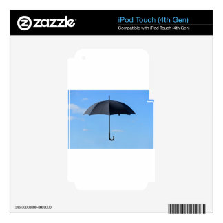 Black umbrella flies in blue sky iPod touch 4G decal