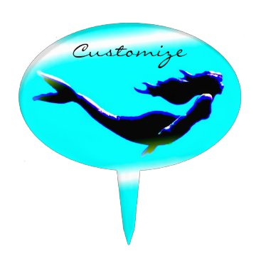 Beach Themed black undersea mermaid customized cake topper