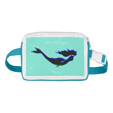 Beach Themed black underwater mermaid Thunder_Cove Fanny Pack