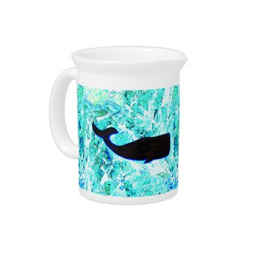Beach Themed black underwater whale Thunder_Cove blue Beverage Pitcher