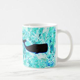 black underwater whales coffee mug