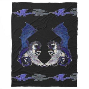 pegacorna Black Unicorn and Dragon Blanket