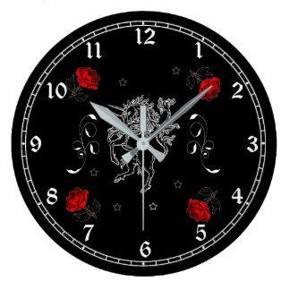 Black Unicorn and Roses Fantasy Art Wall Clock