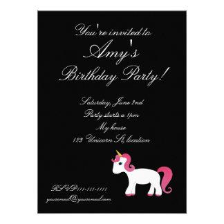 Black unicorn birthday invitation