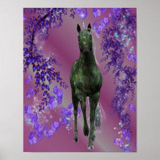 Black Unicorn Flowers Fantasy Horse Poster