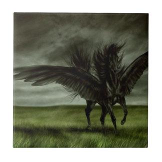Black Unicorn in Open Field Tile