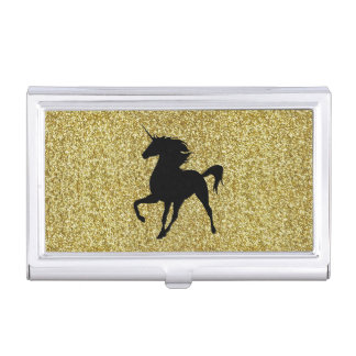 Black Unicorn On Gold Glitter Business Card Holder